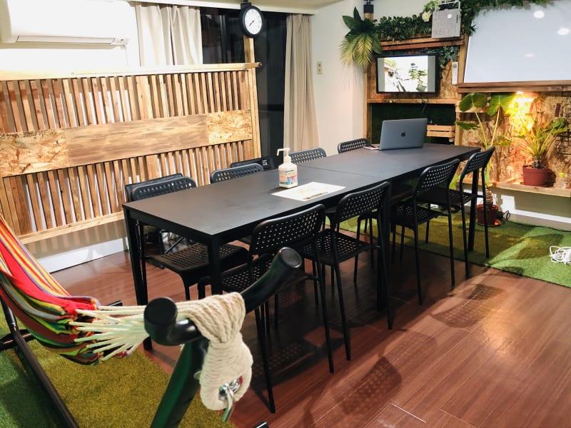 会議用の机に椅子を8脚ご用意 - ef(エフ)ガーデン神南Ⅰ 貸し会議室★エフガーデン神南の室内の写真