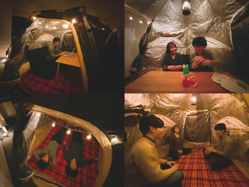 フリースペース レンタROOM|テントのある部屋の室内の写真