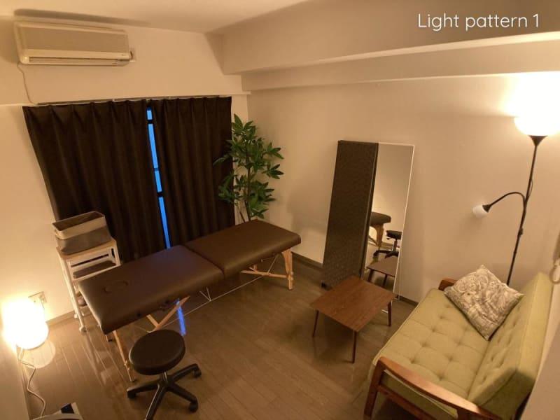 【調光パターン①】色や光量を調光可能なシステムを導入しています。 - ◆エブリ梅田東◆レンタルサロン★ エステスペース、多目的スペースの室内の写真