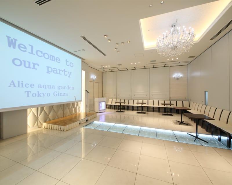 【Dルーム】60名様入る会場(スライディングドアーで仕切っている形) - 銀座レンタルスペース、貸し会議室 大学生人気(60名部屋)の室内の写真