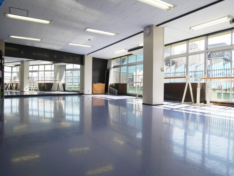 一面鏡、リノリウム床のスタジオです。 ダンサーの脚に負担をかけないよう処理を施してあります。 - Seraバレエ&ダンススタジオ バレエスタジオ、ダンススタジオの室内の写真