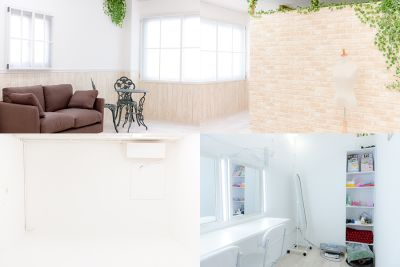 欧風スペースとホワイトスペース、メイクスペースになります。 - スタジオフェアリー 天満橋店 ガーデン スタジオの室内の写真
