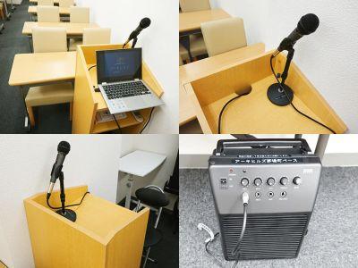 有線マイクも用意しております。音量は控えめにお願いします。 - アーキヒルズ茅場町ベース 【茅場町・八丁堀】32名の会議室の設備の写真