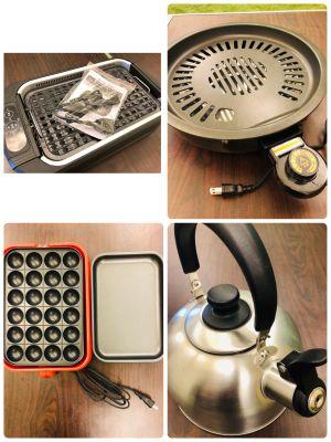 右上/左上:BBQ用ホットプレート(有料) 左下:たこ焼き器(有料) - パーティーピーポー 多目的スペースの室内の写真