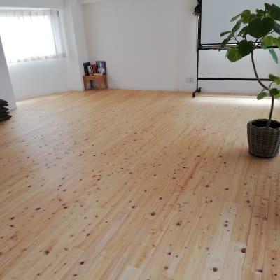床はヒノキの無垢材です。ホワイトボードがあります。 - ヨガスタジオスワルーパ都立大学 ヨガスタジオ の室内の写真
