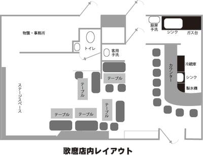 室内配置図 - ミュージック酒場 UTAMARO パーティ会場、音楽イベント会場の室内の写真