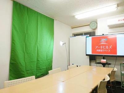 2020年6月7日にクロマキー合成ができるグリーンクロスを用意しました。 - アーキヒルズ西新宿7ベース 【新宿・西新宿】レンタルスペースの室内の写真