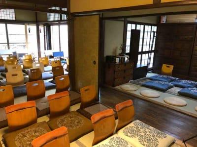 イベント時には、8畳茶室、6畳、4.5畳の建具を外し40名の座椅子席が作れます。 - Udatsuya (うだつや) うだつや本館の室内の写真