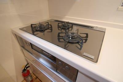 3口コンロ・魚焼きグリル - CocoConne 福岡西新2 キッチン付完全貸切個室 はなれ2の室内の写真