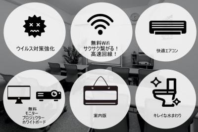 駅スグ会議室 BASE 名古屋駅徒歩2分/除菌強化中の室内の写真