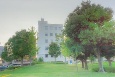 ビルの前には木々のある広い公園もあります。 - レンタルフォトスタジオSORA レンタルフォトスタジオ宙の外観の写真
