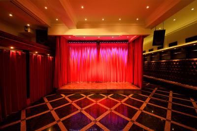赤いカーテンに囲まれたステージ 奥のカーテンと、ステージ前のカーテンは電動カーテンです。 ※ステージの大きさ(435mm×155mm×25mm) - SuNaBa 多目的レンタルスペースの室内の写真