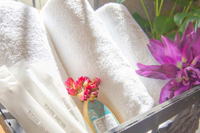 シャワーオプションご利用の方は1枚無料タオル付き - Feel Osaka Yu 【超光速WiFi】テレワーク◎の室内の写真