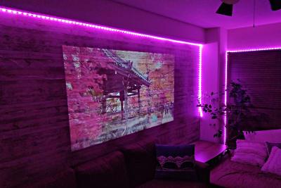 プロジェクターとLEDの組み合わせも👍 - 🌸祝移転︰アイル心斎橋 高速Wifi+料理+ゲーム🎉の室内の写真