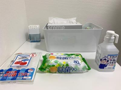 入室前のアルコール消毒と退出前の除菌清掃のご協力お願いします。 - L&Cスペース日本橋駅前 B号室の設備の写真