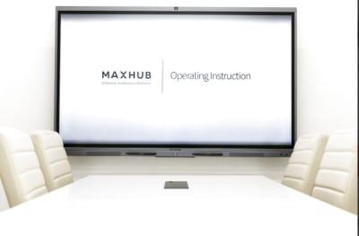 WEB会議システム・電子黒板・ホワイトボード・プロジェクターが搭載されている「MAXHUB」を導入✨ 面倒なセットアップは不要ですので、お気軽にお使いください。 - BIZcomfort京都四条烏丸 完全個室 8名用会議室の室内の写真