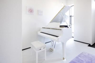 珍しい白いグランドピアノを弾いてみませんか? - ピアノスタジオコローレ レンタルピアノスタジオの室内の写真
