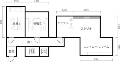 楽屋6名×2部屋含んだスペースです - SUNZENT STUDIO 機材完備のライブ配信専門スタジオの室内の写真