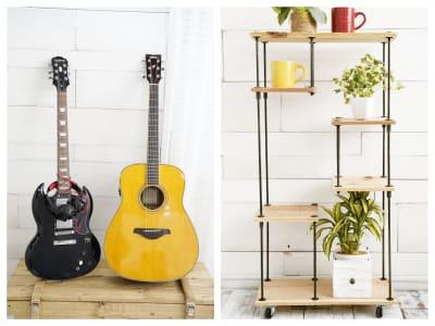 小物としても楽器としても使えるギターとオーダーメイドの棚です。 - スタジオ「μ」(スタジオミュー) 撮影スタジオ(ハウススタジオ)の設備の写真
