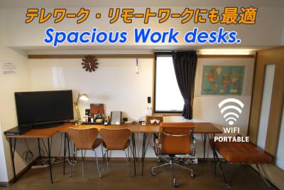 複数人数での作業もOK。 - さくらスペース テレワーク、女子会、会議室の設備の写真