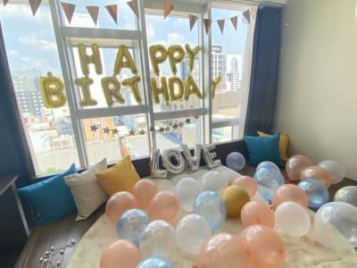 誕生日飾り付け例 - CULTI EARL HOTEL 家具ありレンタルスペース1-2の室内の写真