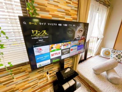 50型TV!FireTVで迫力の映画鑑賞を! - ヴィラ難波の設備の写真