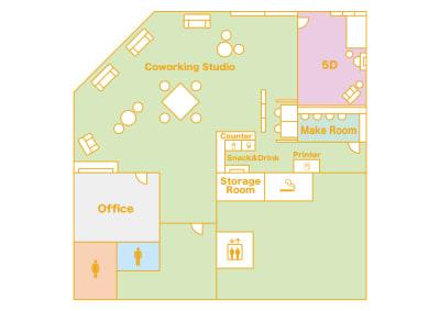 【5D】は画像右上の個室スタジオです。 - 大手町スペースブリッド ★撮影スタジオ(6名)5Dの室内の写真