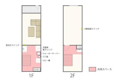 間取り図  - レンタルスペース zest 2階 会議室、サロンスペース!の室内の写真
