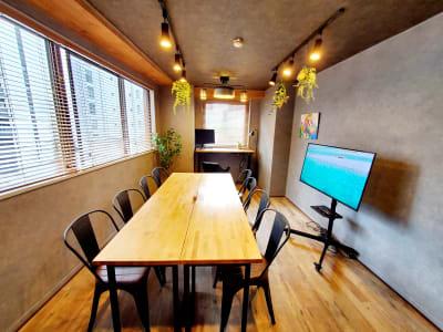 8名着席可能な大き目ミーティングテーブル。 - <NEST301>レンタル会議室 NEST301の室内の写真
