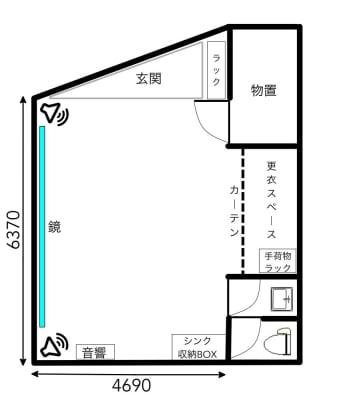 大型一面鏡常設 - スタジオカリマ/カリマ松本 ダンス、ヨガ、トレーニングなどにの室内の写真