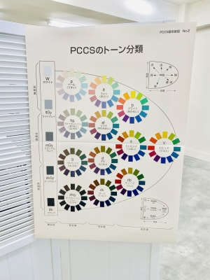 カラリストやデザイナーの方向けにPCCSトーン表も設置しました。 - 日本橋base サロンスペース、商品撮影スペースの設備の写真