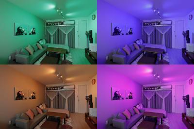 照明は16色に変更可能です。お誕生日の方の好きな色に設定するなどパーティーを盛り上げる演出にお使いください。 - HAPPYスペースかしわ パーティールーム、撮影の室内の写真