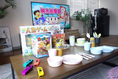 こどものテンション爆上がりのミニスケールの食器、カトラリー、ゲームをご用意しました。 - レンタルスペースくまもと 上乃裏の設備の写真