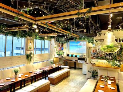 プロジェクター2つあります。好きな映像を流してパーティー気分♪ - 渋谷ピカリエ道玄坂本店の室内の写真
