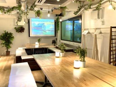夜でも十分明るくできて、昼はロールカーテンで暗くにも対応できます! - 渋谷ガーデンルーム3F 渋谷ガーデンルーム3Fの室内の写真