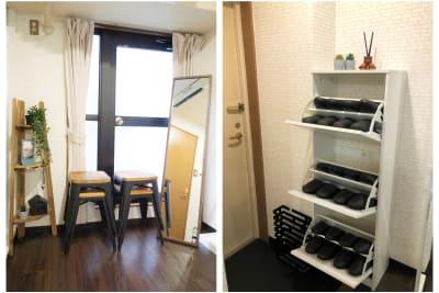 姿見(鏡)、スタック椅子4脚、スリッパ12足 - マイスぺ24 京橋スペース レンタルオフィス 貸会議室 テレワークスペースの設備の写真