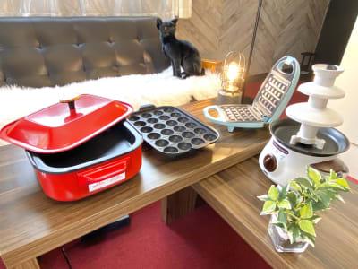 たこ焼き器、ホットプレート、ワッフルメーカー、チョコレートファウンテン貸し出し無料! - カトルズ@名駅 レンタルスペースの設備の写真