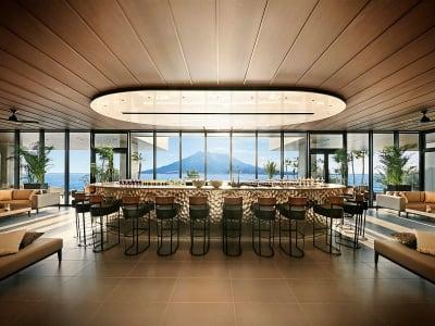ザ・ベイスイート 桜島テラス オープンスペースのラウンジの室内の写真