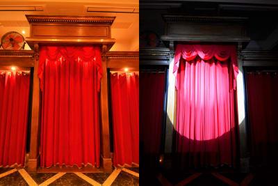 入場門 扇風機は感染症対策のため、空気をより循環させるために設置しております。 カーテンは手動になりますが、ワンポイント演出としてもご利用できます。 このカーテンを背景にして撮影すると映えます。 (スポットライトはオプション「ムービングライト」が必要です) - SuNaBa 多目的レンタルスペースの室内の写真