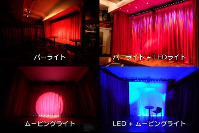 有料オプションを使ったステージ演出です。 この他にも多数、カラーバリエーションもございます。様々なシーンに合わせてご利用頂けます。 - SuNaBa 多目的レンタルスペースの室内の写真