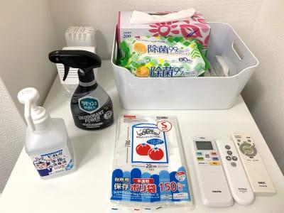入室前のアルコール消毒と退出前の除菌清掃&リセッシュのご協力お願いします。 - L&Cスペース日本橋駅前 D号室の設備の写真