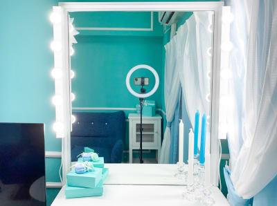 化粧台あります(^^) - H.R.S.O 大須ティーブルー Heavenly 大須ブルーの室内の写真