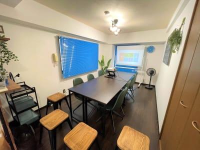 会議スタイル、ホワイトボード裏面はプロジェクター投影用です。 - マイスぺ24 京橋スペース レンタルオフィス 貸会議室 テレワークスペースの室内の写真
