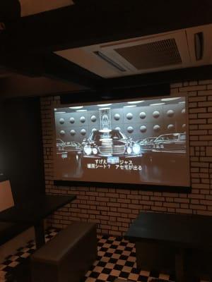 大型プロジェクター 映画やご自身の映像等なんでも流していただけます! - アミューズメントスペース +Bの設備の写真
