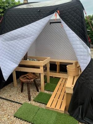 テントサウナレンタル一式¥15000/日(2時間程度)です - The DAY. 戸建貸切バーベキュースペースの設備の写真