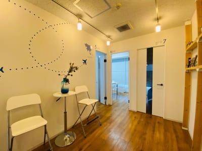 ドアの上に「6 IND」と書かれた部屋がレンタルスペースです。 - getgoスペース 会議室・多目的ルームの入口の写真