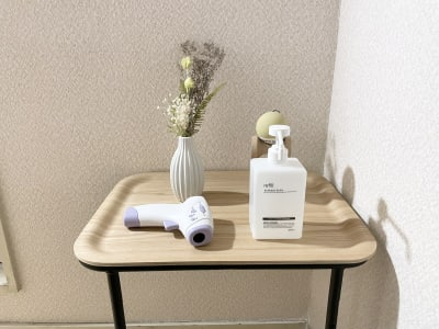 アルコールスプレー、非接触型体温計 - 広島レンタルサロンBuddy 完全個室レンタルサロンの室内の写真
