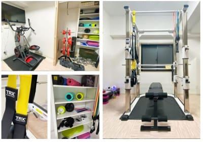 ヨガマット、バランスボール、TRX(サスペンショントレーニング)なども可能♪ 女性にも利用して頂きやすい施設です。 - TIME GYM24 24時間利用可能なレンタルジムの室内の写真
