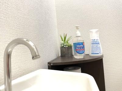 お手洗いには手指消毒用アルコールと、便座用アルコールがございます。 - レジデンス浜松1階 レンタルスタジオ ダンスユーの室内の写真
