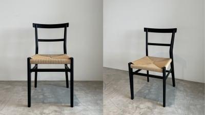 【Room1】6.7m x 3.4m <こだわりのチェア> ●テーブルにはチェアも4脚ご用意。 ●チェアのサイズ:W1600×D800×H730mm ●チェアの素材:オーク材ウレタン樹脂塗装仕上げ。座面:ロープ ●チェアの特徴:力強い木目のオーク材をマットブラックに塗装し、ペーパーコードの座面を組み合わせた上品なチェアです。金具を一切使用せず、臍加工のみで作られています。背もたれのR加工やフレームのうずくり加工等、細部のこだわりも。単独でコーディネートいただいても存在感のあるチェアです。 - Well Studio 千駄ヶ谷 キッチン・バルコニー付きスタジオの室内の写真